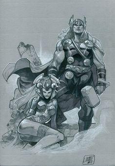 Thor and Enchantress by Pepe Larraz *