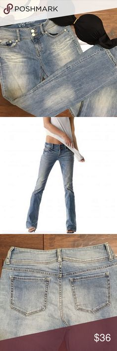 """Victoria's Secret Mid Rise Hipster Jeans Super flattering VS """"Hipster"""" jeans.  Mid-Rise, slim fit 5 pocket style with a wider waist band to help with that awful """"gapping"""" effect. Cute Double button closure in front. Bottom is a little wider than leg so they have a slight flare or Bootcut look to them. Jeans are sold out online -  Excellent pre loved condition- no tears, stains etc. Factory slight """"worn in"""" look  Inseam:  31"""" Waist:     14"""" across side to side  Feel free to ask questions…"""