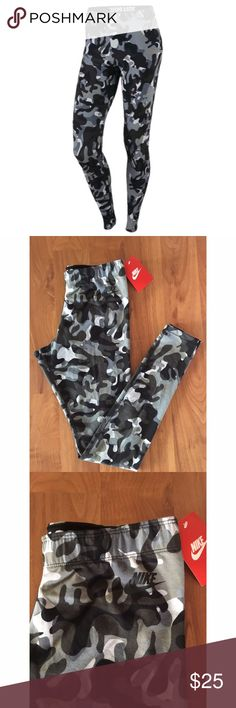 NIKE Camo Print Leg A See Leggings NEW NIKE Camo Print Leg A See Leggings. Tags still attached. Size Small.                  Stretch fabric for ultimate comfort  NIKE swoosh logo branding  All-over camouflage print  Elastic waistband  JUST DO IT lettering on inside of waistband 87% cotton, 13% spandex Nike Pants Leggings