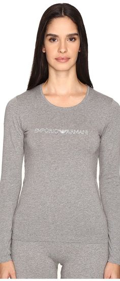 Emporio Armani Visibility Stretch Cotton Long Sleeve T-Shirt (Dark Grey Melange) Women's T Shirt - Emporio Armani, Visibility Stretch Cotton Long Sleeve T-Shirt, 163229, Apparel Top Shirt, T Shirt, Top, Apparel, Clothes Clothing, Gift, - Street Fashion And Style Ideas