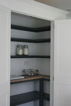 Farrow & Ball Wimborne White white shelving, Down Pipe.