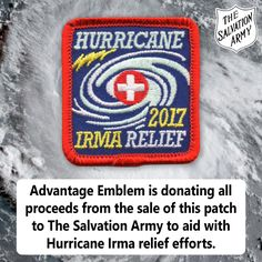 Hurricane Irma is the largest Atlantic hurricane in recorded history. To help Advantage Emblem has created a relief patch in which we will donate all proceeds to the relief efforts. Will your council or troop help with the hurricane relief effort? Advantage Emblem is donating all proceeds from the sale of this patch to The Salvation Army to aid with Hurricane Irma relief efforts. Purchase the patch and help today!
