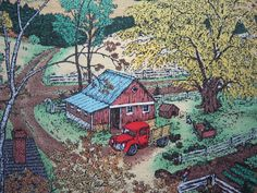 Farmland Fabric Susan Hunt Wulkowicz Barn by SewMeNowFabrics, $6.00