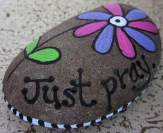 Hand Painted Prayer Stone Rock of Faith Pray Bible Verse