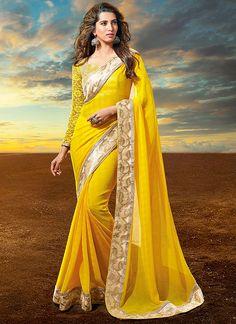 Sensual Yellow Georgette Saree