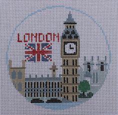 Kathy Schenkel Designs London Round Hand Painted Needlepoint Canvas  #KathySchenkel