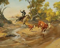 Charlie Dye (1906–1972), After a Bunch Quitter, oil on canvas, 24 x 30 in, JHAA 2008 Sold: $57,500. #cattle #western #art #painting #cowboy