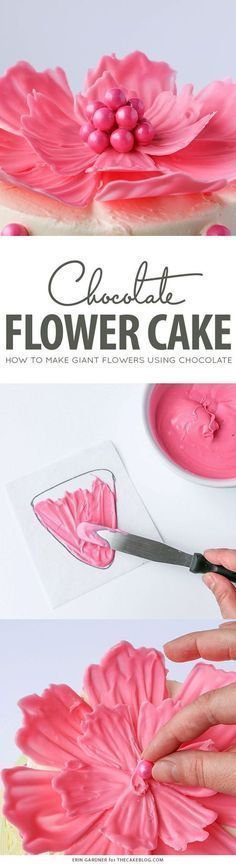DIY Chocolate Flowers.  How to make chocolate flodip de chocilayewers to top cakes and cupcakes.  | By Erin Gardner for http://TheCakeBlog.com
