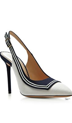 Charlotte Olympia ● SS 2014, Sailing Linen Slingback Pump. Navy