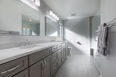 Together, let's create your dream bathroom 🤩Stress-free bathroom remodeling. Gray Bathrooms, Van Nuys, Let's Create, Bathroom Remodeling, Double Vanity, Gallery, Grey, Furniture, Design