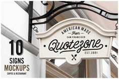 Check out 10 Signs Mockup Restaurant & Coffee by forgraphic™ on Creative Market