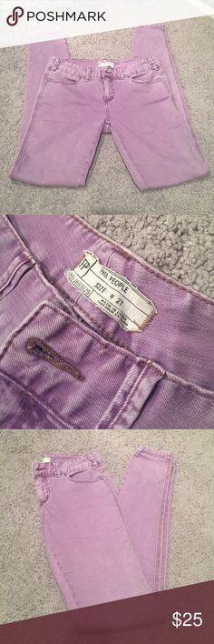 Free People purple skinny jeans Stretchy and comfortable. See last pic for only flaw, which was a mark from nail polish. Not noticeable when worn. Free People Jeans Skinny