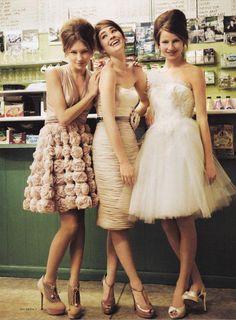 Gorgeous mismatched bridesmaids dresses, but in the same colour