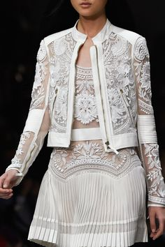 White embroidered lace shirt, jacket, pleated skirt