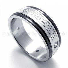 Diamonds Titanium Ring 19943