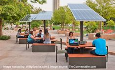 outdoor solar workstation for corporate campus connectable Outdoor Office, Outdoor Classroom, Outdoor Learning Spaces, Outdoor Spaces, Industrial Office Space, Outdoor Awnings, Workspace Design, Space Architecture, Lounge