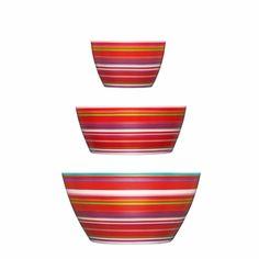 Perfect set for every occasion   iittala Origo Red 3-Piece Bowl Set - $65.00 Snack Bowls, Dessert Bowls, Cereal Bowls, Red Bowl, Bowl Set, 3 Piece, Tableware, Kitchenware, Blue And White