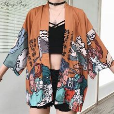 "Universe of goods - Buy ""Japanese kimono traditional yukata women kimono cosplay japanese clothes traditional japanese kimonos kimono girl for only 33 USD. Traditioneller Kimono, Kimono Jacket, Kimono Cardigan, Cardigan Fashion, Cardigan Sweaters, Kimono Style, Casual Sweaters, Kimono Fashion, Casual Tops"