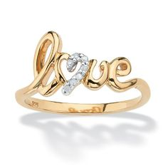 White Diamond Accent 18k Gold over .925 Sterling Silver Love Ring ** For more information, visit image link.