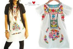 White Peace Mexican embroidered dresses