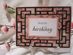 handmade birthday card ... beautiful pink printed paper with cherry blossoms ... black grid frame ... great card from creationsbypatti blog ...