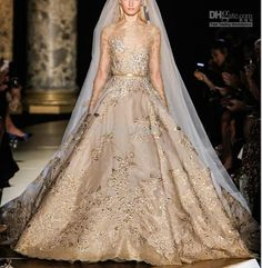 2014 Elie Saab Couture Champagne Beige Satin and Lace Long Sleeve Beaded Applique Fashion Modest Wedding Dress ...