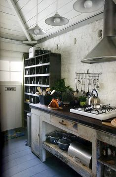 White Kitchen - Shabby chic rustic vintage decor decorating www.HomemadeVintage.com
