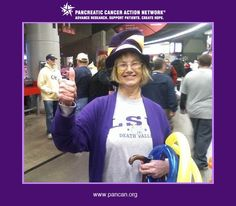 Please vote for my Mom! She was a great person and had a great sense of humor! Seen here, she is displaying her pride in the LSU Tigers. She passed away on July 15, 2010 from pancreatic cancer only 8 days after her tumor was diagnosed. I wear purple each and every day now to raise awareness.