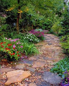 Garden path made from flagstone and river pebbles