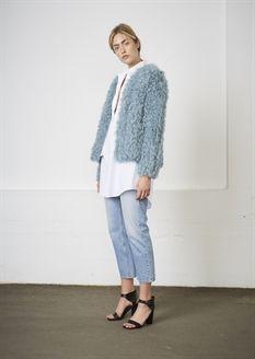 Show details for Nathalie Fur Jacket - Greyish Aqua