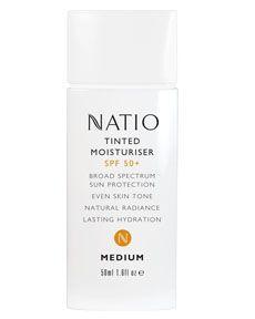 Natio tinted moisturiser with SPF 50+ broad spectrum sun protection.