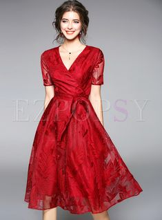 Women's Sweet Dress Sexy V Neck Short Sleeve Belt Floral Lace Party Dress Evening A Line Dresses Red Blue summer dress Price history. Pretty Dresses, Sexy Dresses, Fashion Dresses, Formal Dresses, Skater Dresses, Boy Fashion, V Neck Wedding Dress, Wedding Dresses, Feather Dress