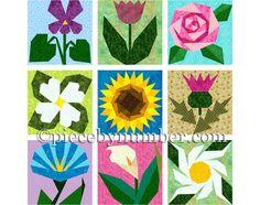 9 flor edredón patrones papel piecing por PieceByNumberQuilts