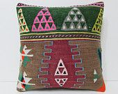 "Turkish cushion 18"" sofa throw pillow kilim pillow cover decorative pillow case couch outdoor floor bohemian boho ethnic rustic accent 22426"