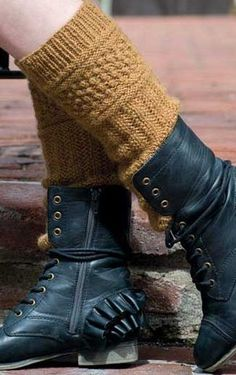 Knitting Pattern for Tilly Boot Cuffs - Textured boot toppers designed by Meghan Kelley.