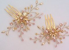 Blush gold comb Gold pearl and crystal comb pearl by ZTetyana