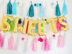 SWEETS letter balloons gold foil mylar letter balloons - banner with tassels kit