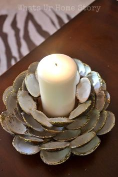 How to make a clam shell candle holder www.whatsurhomestory,com