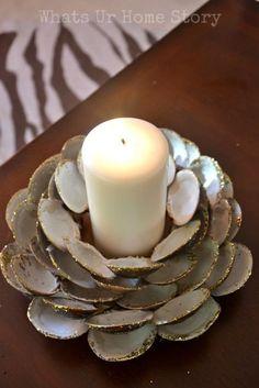How to make a clam shell candle holder www.whatsurhomestory,com