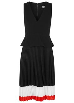 Altuzarra black crepe dress Peplum waist, striped pleated sheer chiffon skirt, partially lined  Exposed zip fastening at back  Fabric1: 69% triacetate, 31% polyester; fabric2: 100% silk; lining: 100% polyester