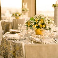 lemon and floral centerpieces