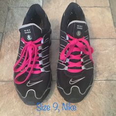 new arrival 78044 aaf08 Shop Women s Nike Black size 9 Athletic Shoes at a discounted price at  Poshmark. Description  Like new Nike Shocks!