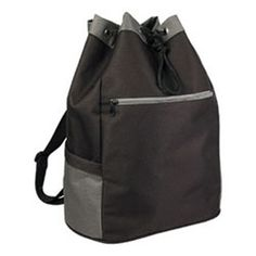 Drawstring backpack...Drawstring backpack made of 600 denier polyester with PVC backing. Features large compartment with two open end pockets, rear zippered pocket and adjustable shoulder strap.