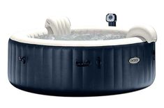 Get cozy, relax, and indulge yourself in the Intex PureSpa Bubble Therapy Inflatable Spa. Pamper yourself and relax in this Intex PureSpa Bubble Therapy Inflatable Spa. Intex Hot Tub, Spa Intex, Jacuzzi, Inflatable Hot Tub Reviews, Bubble Spa, Round Hot Tub, Heat Pump, Heating Systems, Pure Products