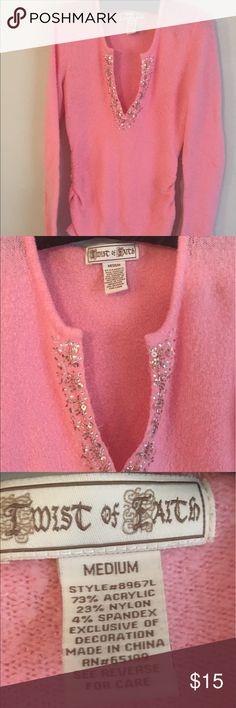 Pink sweater with neckline embellishments Soft pink sweater with  gathered sides. Embellishments at V neckline.. twist of faith Sweaters V-Necks