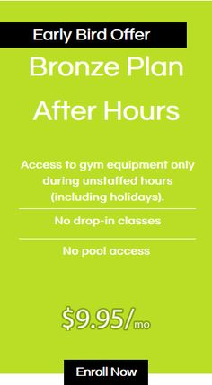 Bronze Plan After Hours, Access to gym equipment only during unstaffed hours (including holidays). No drop-in classes, No pool access  #Fitnessplus #gym $9.95/mo After Hours, Beauty Spa, Fun Workouts, Swimming Pools, Gym Equipment, Bronze, Weight Loss, Drop, Holidays