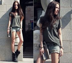 Zara T Shirt, Forever 21 Shorts, Miss Sixty Boots
