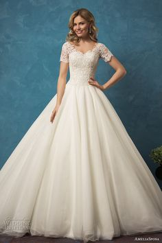 AMELIA SPOSA 2017 bridal short sleeves heavily embellished bodice princess ball…