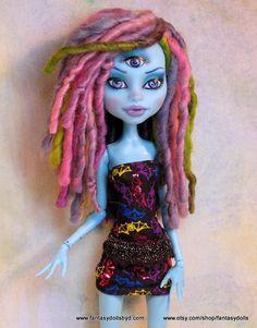 Monster Doll High Fashion Dreadlock Wig Hand Spun by Fantasydolls