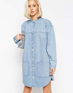 Buy ASOS WHITE Bleach Denim Shirt Dress at ASOS. With free delivery and return options (Ts&Cs apply), online shopping has never been so easy. Get the latest trends with ASOS now. Denim Fashion, Boho Fashion, Fashion Dresses, Fashion Trends, Denim Shirt Dress, Denim Outfit, Asos, Jean Délavé, Bleached Denim